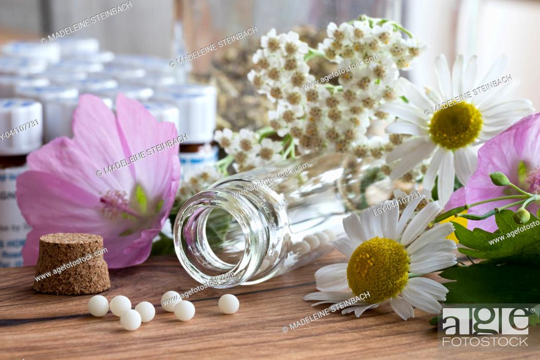 Stock Photo: A bottle of homeopathic pills with chamomile, yarrow and other flowers on a wooden table.