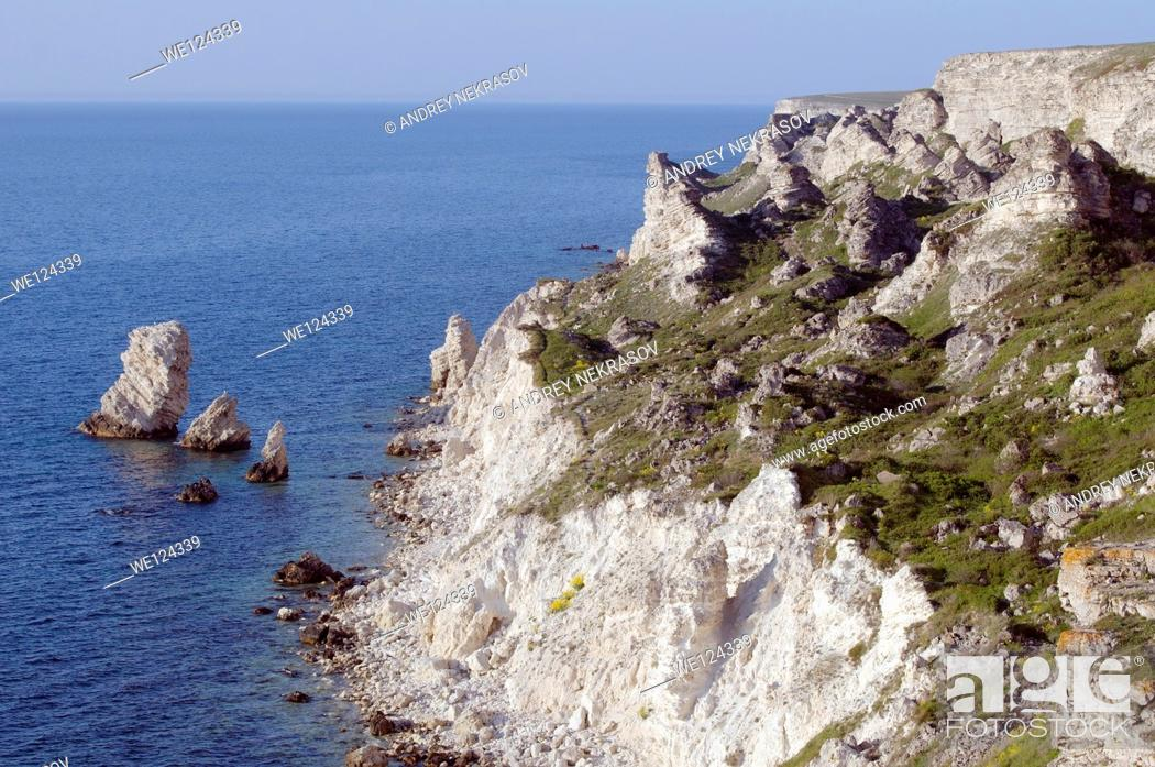Stock Photo: Coastline, peninsula Tarhankut, Tarhan Qut, Crimea, Ukraine, Eastern Europe.
