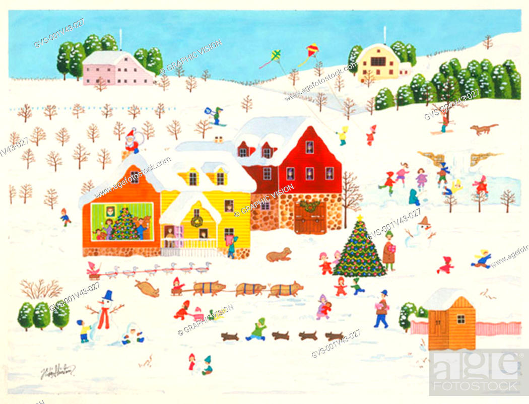 Stock Photo: Illustration of House and Farmyard in the Winter.
