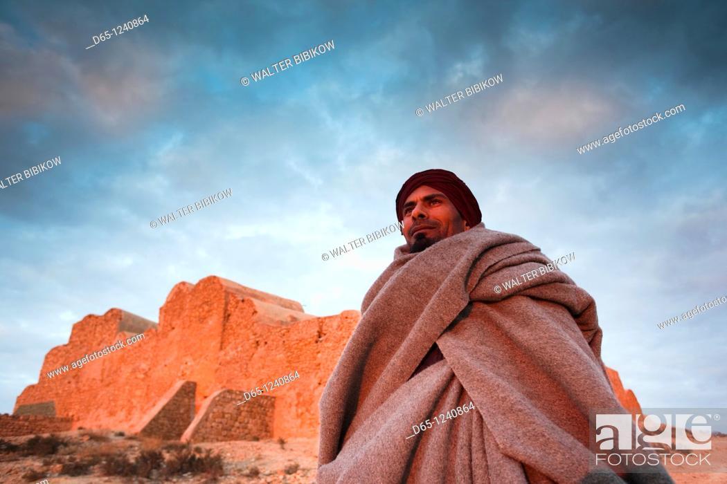 Stock Photo: Tunisia, Ksour Area, Ksar Ouled Soltane, middle-aged Tunisian man, R, MR-TUN-10-004.