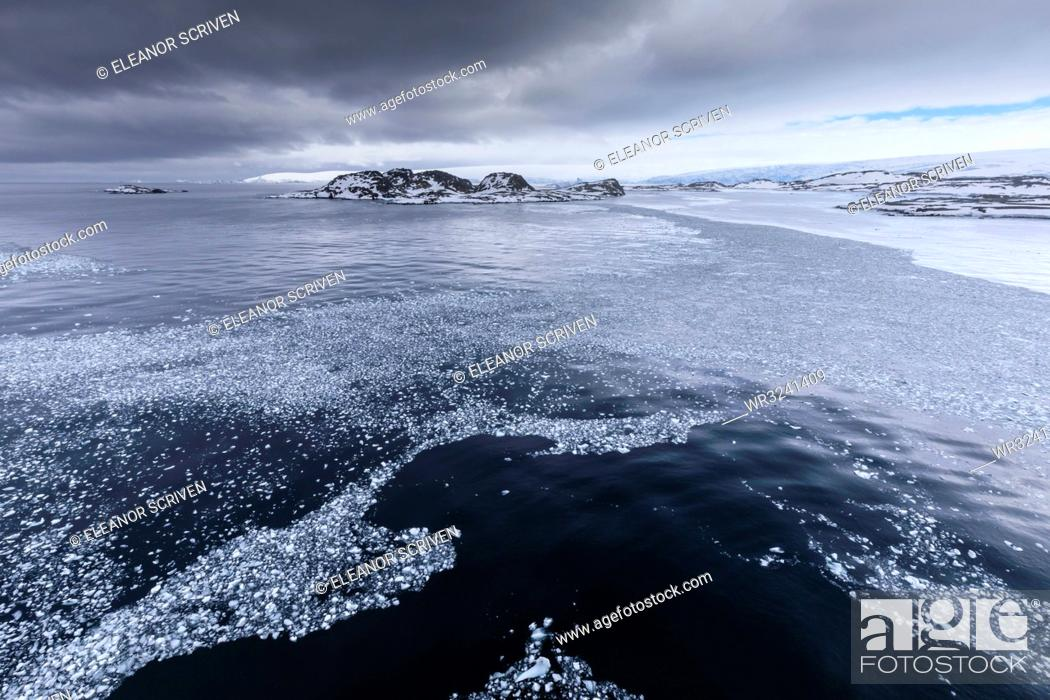 Imagen: Brash ice and grease ice, Torgersen Island and glaciers of Anvers Island, Antarctic Peninsula, Antarctica, Polar Regions.