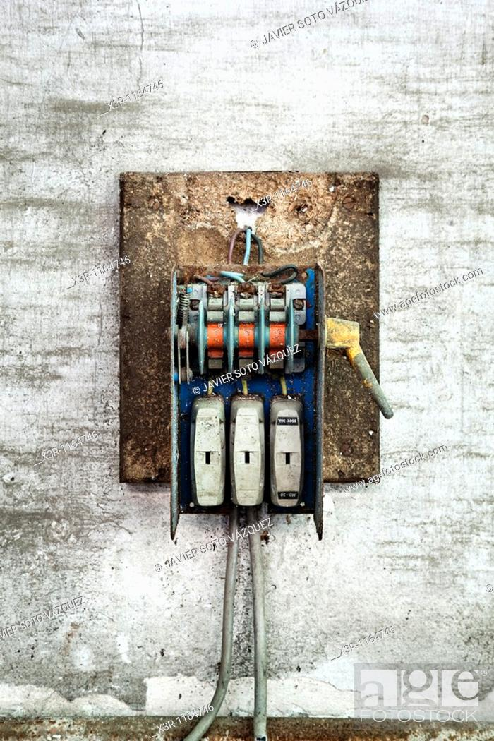 Stock Photo: Old electric fuse box.