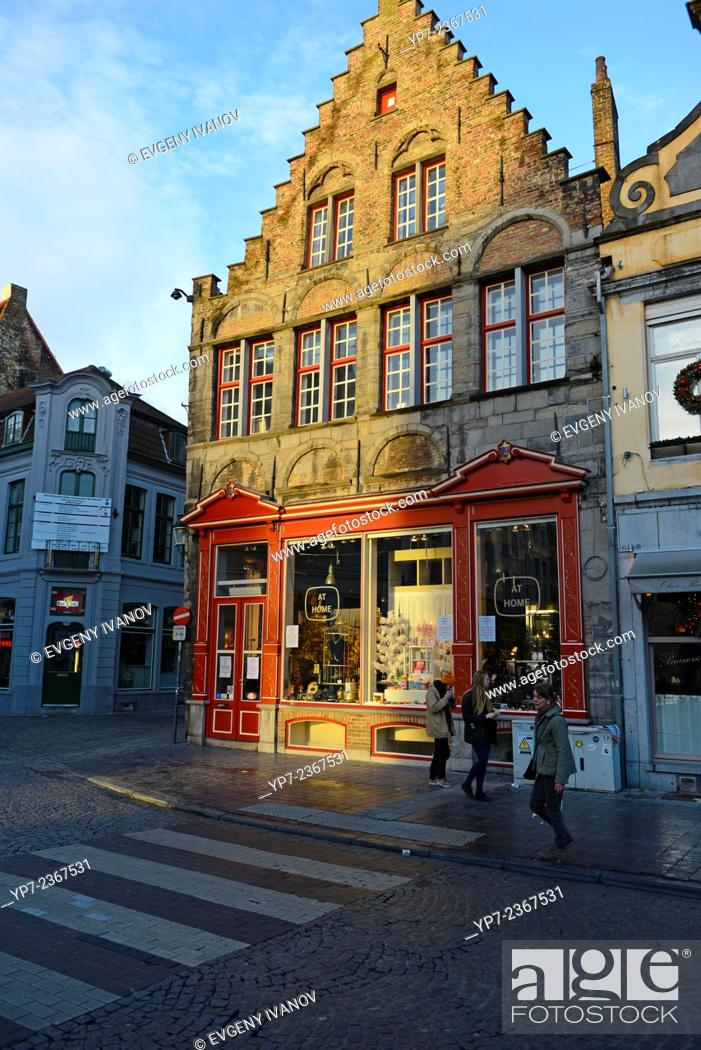 Stock Photo: Shop In Brugge Old Town, Belgium.