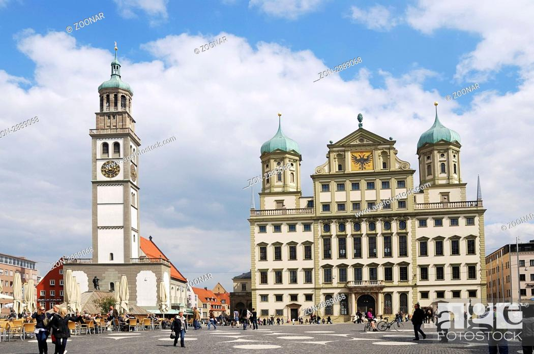 Stock Photo: AUGSBURG, GERMANY - APRIL 16: City centre of Augsburg on April 16, 2011. Augsburg hosts the FIFA soccer worldcup of the women in 2011.