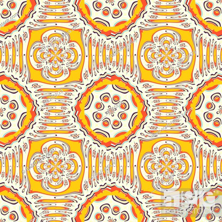 Stock Vector: Abstract links pattern. Graphic design pattern, mostly in orange and yellow. Resembles something related to food, cheese-like.