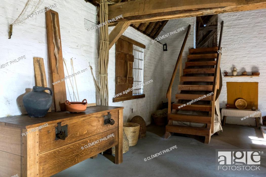 Stock Photo: Interior of 15th century fisherman's house at the reconstructed medieval fishing village of Walraversijde, open-air museum at Raversijde, Belgium.