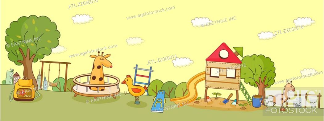 Stock Photo: Abstract illustration of a park with play equipments.