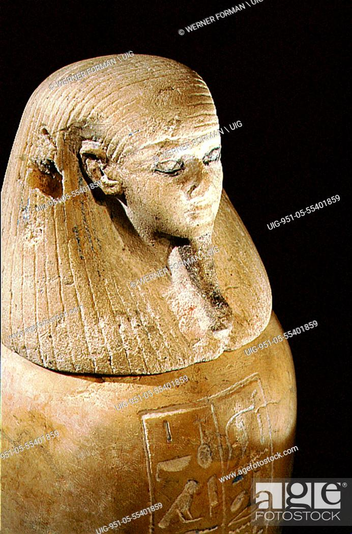 Stock Photo: One of a set of four canopic jars, used to preserve the internal organs of Prince Hornakht, each in the form of one of the Four Sons of Horus.