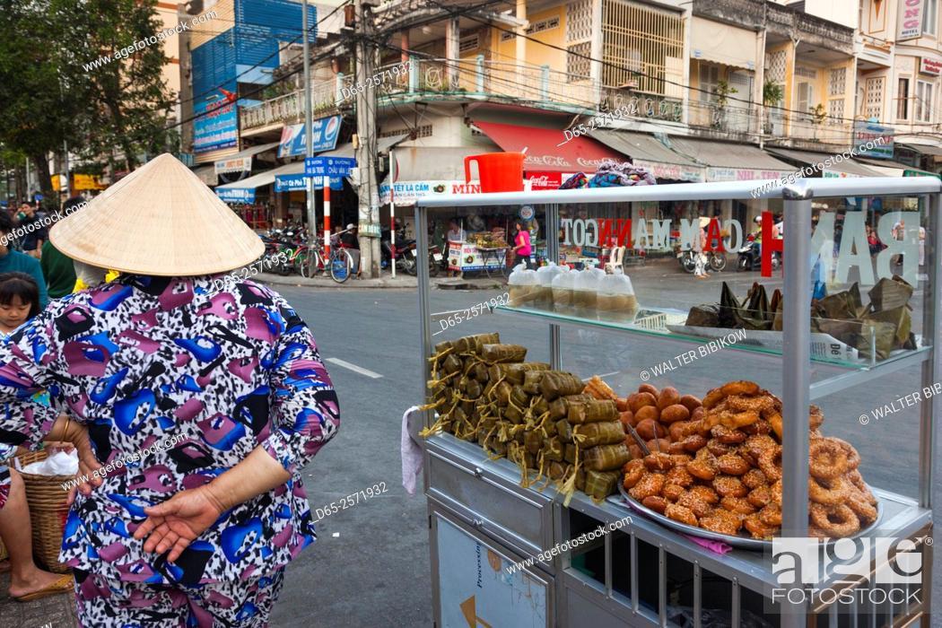 Stock Photo: Vietnam, Mekong Delta, Can Tho, Vietnamese snacks.