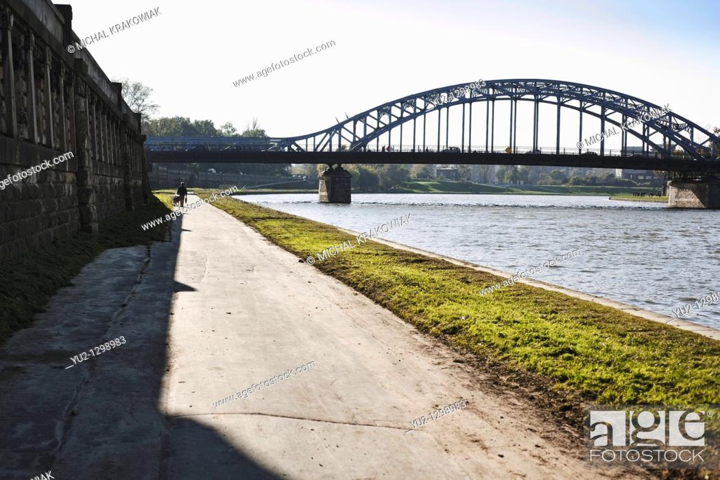 Stock Photo: Vistula bank near Pilsudski Bridge in Krakow, Poland.