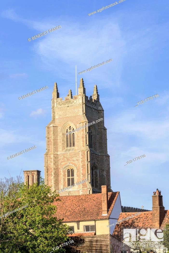 Stock Photo: Tower of St Mary's parish church, Stoke-by-Nayland, Suffolk, England, UK.