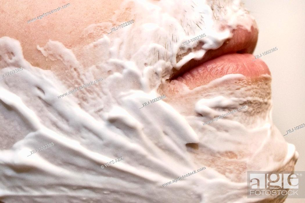 Stock Photo: Beard, shave, shaving foam.