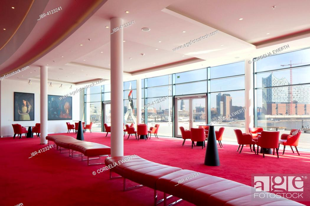 Stock Photo: Light-flooded foyer with views of the city, Stage Theater an der Elbe, Hamburg, Germany.
