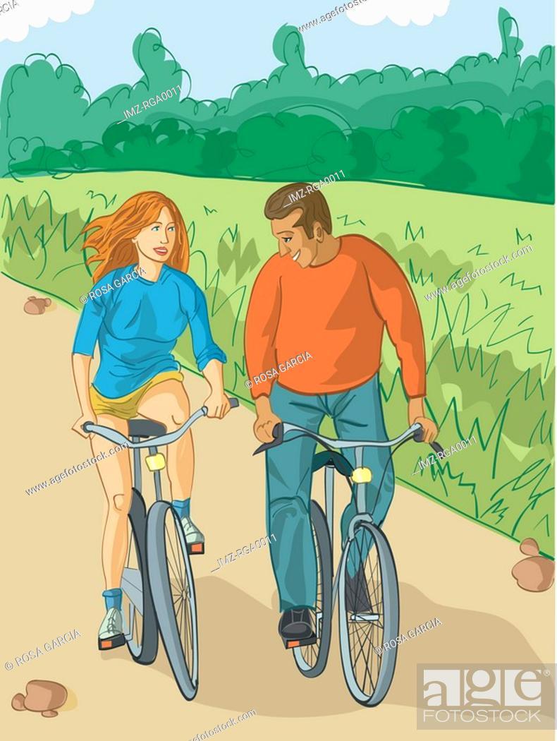 Stock Photo: couple bike riding.