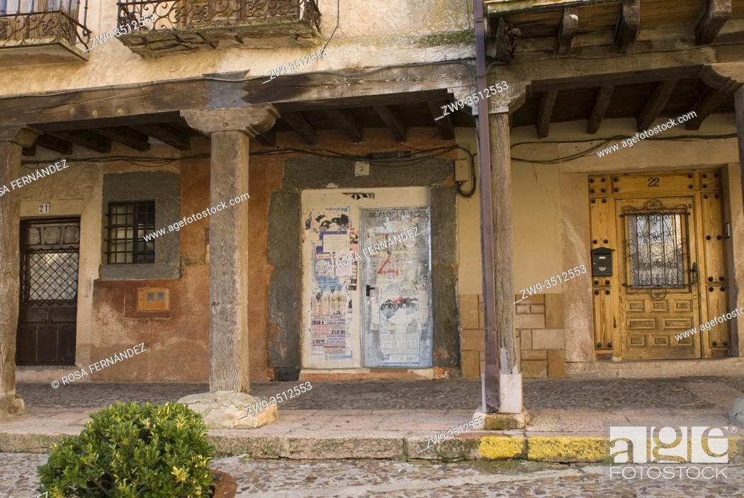 Stock Photo: Porticoed main square, Riaza, province of Segovia, Castilla y Leon, Spain.