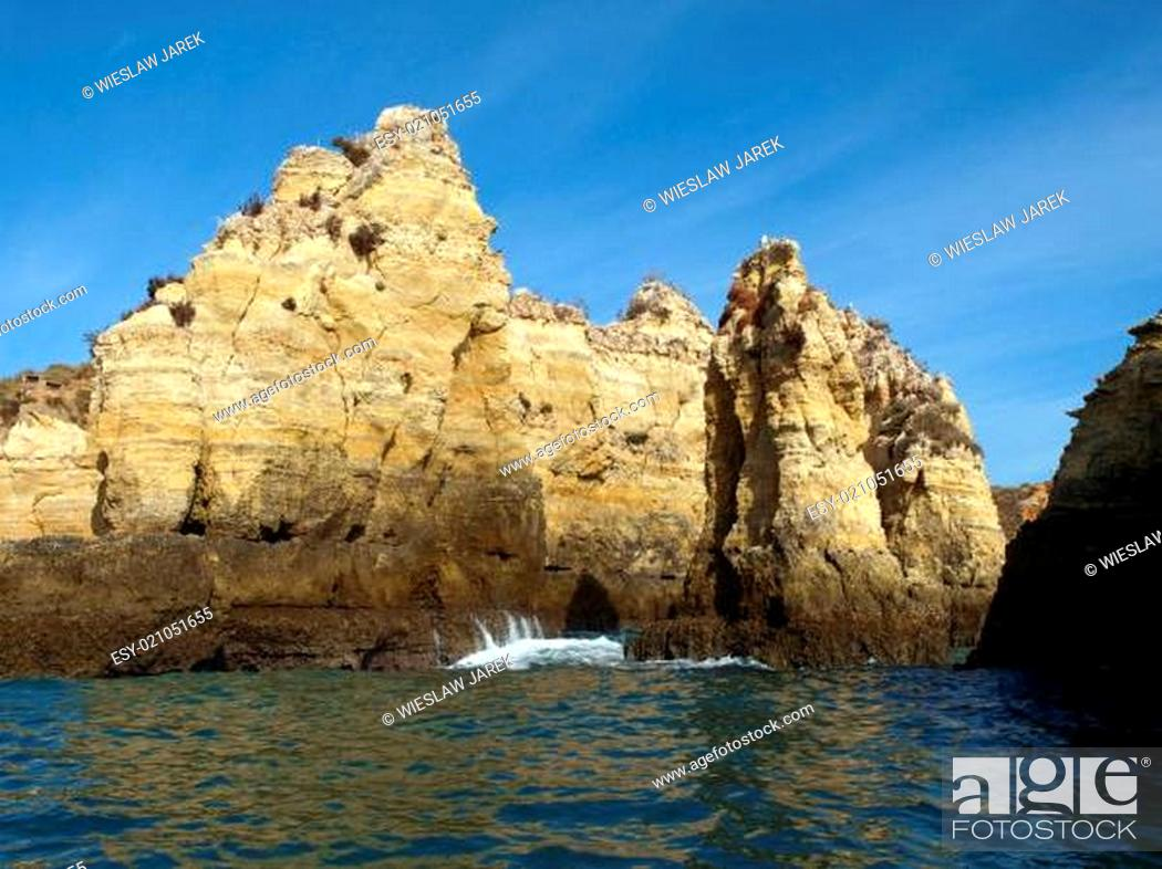 Stock Photo: Alagarve coast between Lagos and the Cap Vincent.