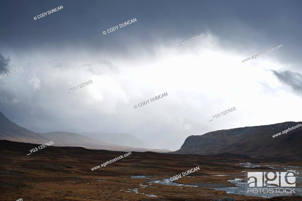 Stock Photo: View south of Tjäktjavagge from near Sälka, Kungsleden trail, Lapland, Sweden.