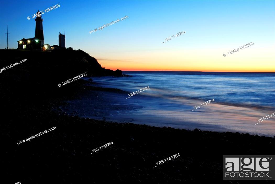 Stock Photo: Dawn, Montauk Point, Long Island, New York.