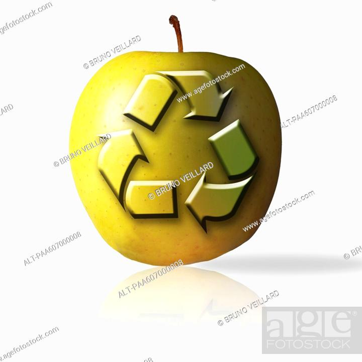 Stock Photo: Recycling symbol on apple.