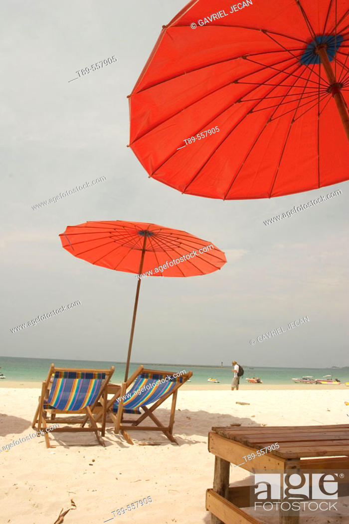Stock Photo: Thailand, Rayong, Samed Island, Chairs on the beach.