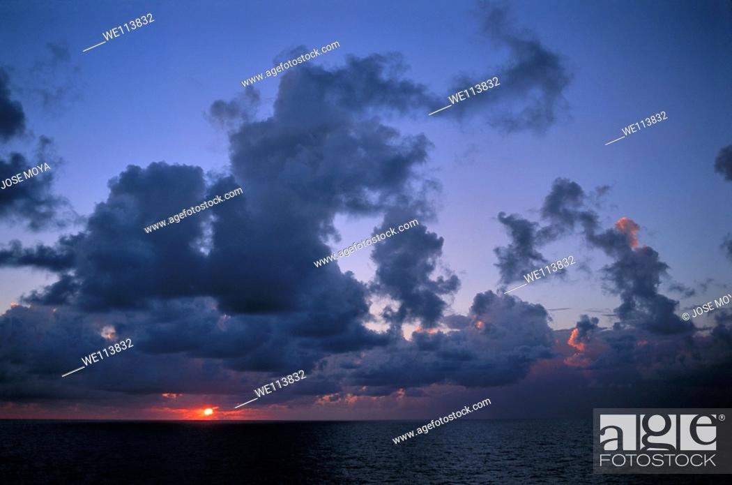 Stock Photo: Sunset over water, Caribbean.