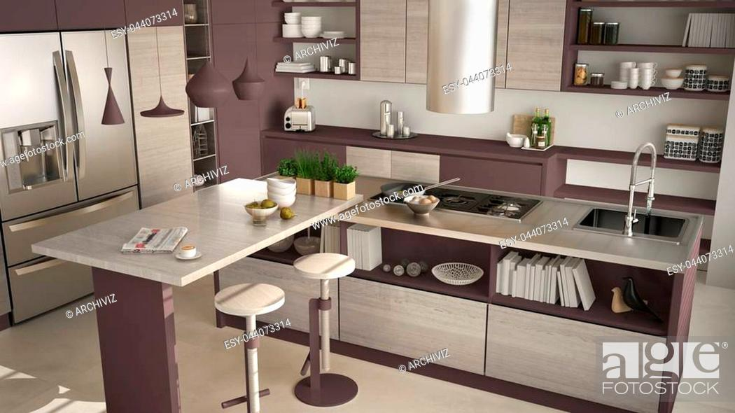 Stock Photo: Modern wooden kitchen with wooden details, close up, island with stools, white and red minimalistic interior design.