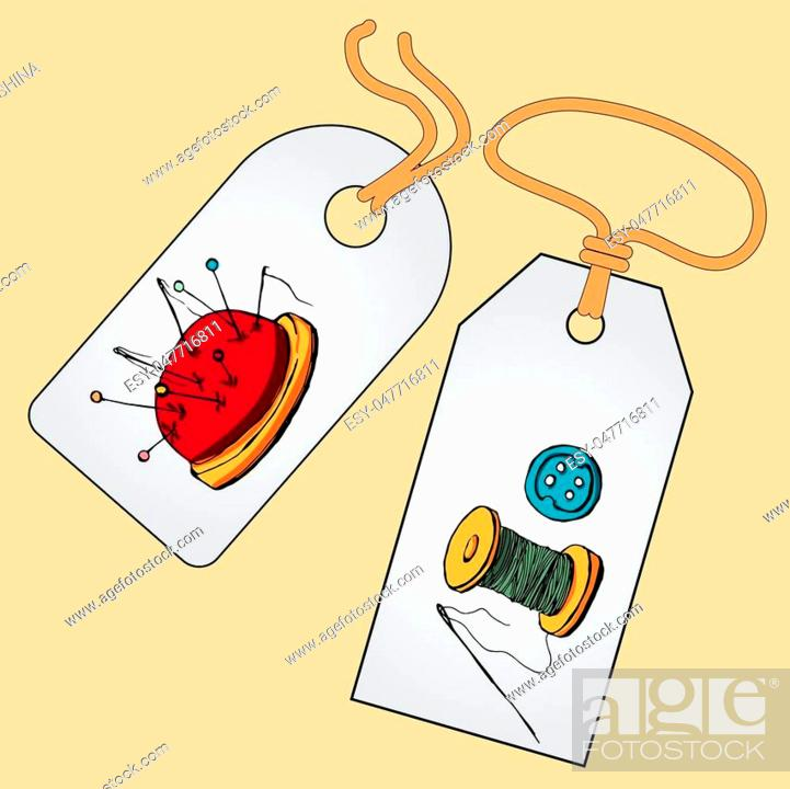 Stock Vector: Label, badge, price tag with the image of fashionable things.Fashion set. Various tools for sewing. illustration in hand drawing style.