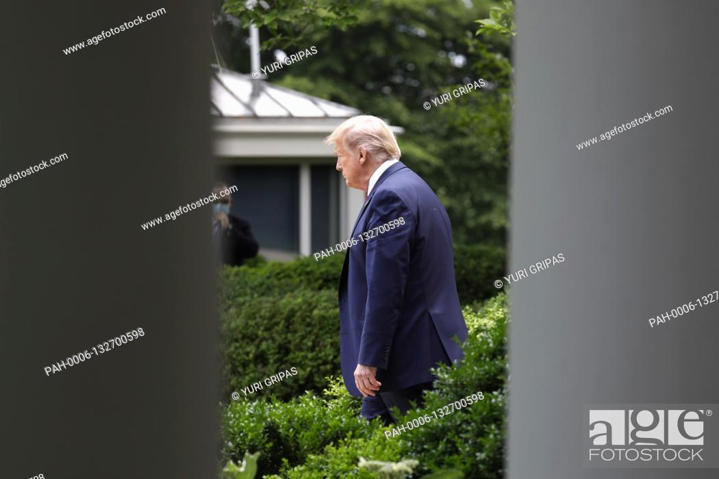 Stock Photo: United States President Donald J. Trump arrives to deliver remarks on China in the Rose Garden at the White House in Washington, DC on May 29, 2020.