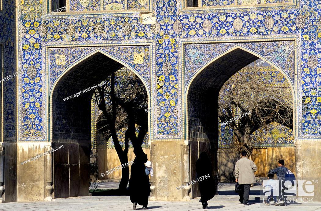 Stock Photo: Iran, Esfahan, Eman Khomeni Square, Imam Masjed-E Emam Mosque, Tilework, Iranian People.
