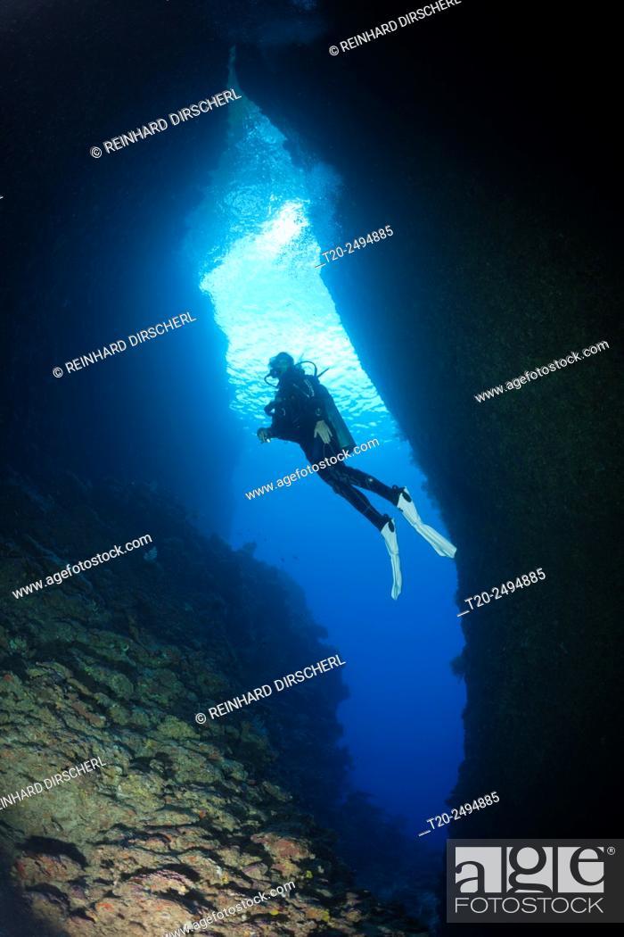 Stock Photo: Scuba Diving in Bat Caves, Russell Islands, Solomon Islands.