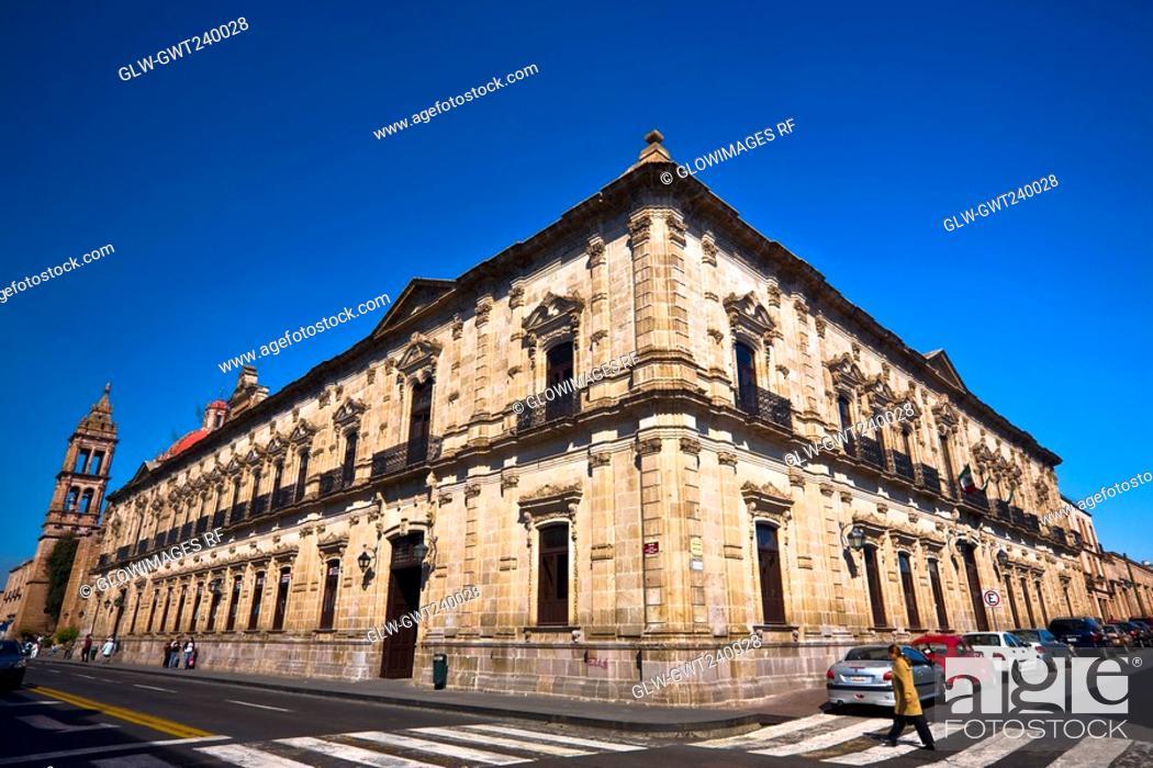 Stock Photo: Low angle view of a building, Palacio Federal, Morelia, Michoacan State, Mexico.