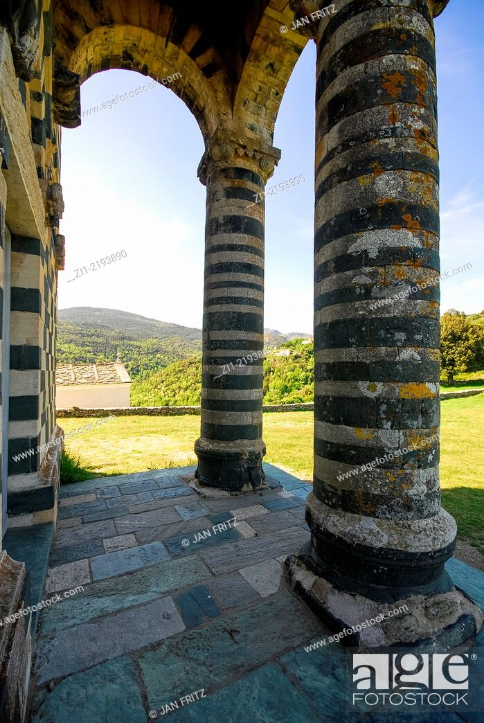 Stock Photo: pilars of the beautiful Romanesque church in white and green built 1280 of Murato in Nebbio district on Corse, France.