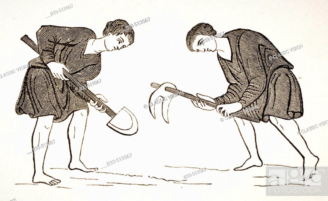 Stock Photo: Serfs labouring in fields with hoe and spade after a miniature in 12th century manuscript.