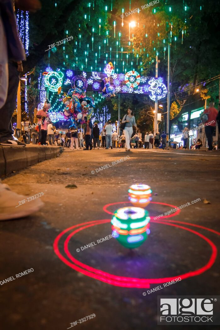 "Stock Photo: Christmas lights in Medellín, on the """"La Playa"""" avenue."
