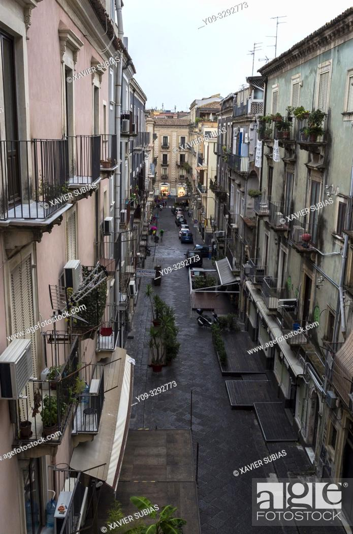 Stock Photo: Street in San Camillo ai Crociferi Neighborhood, Catania, Sicily, Italy.
