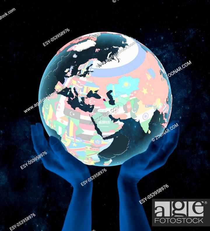 Stock Photo: Armenia on translucent political globe in hands in space. 3D illustration.