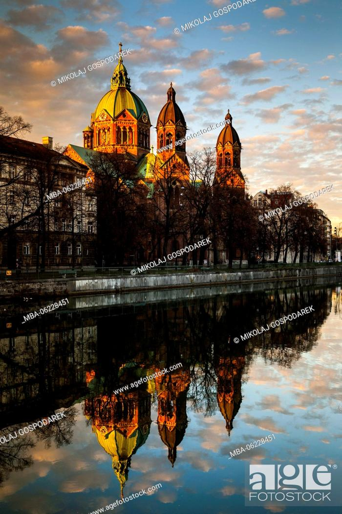 Stock Photo: Germany, Bavaria, St, Luke's Church, Munich, City.