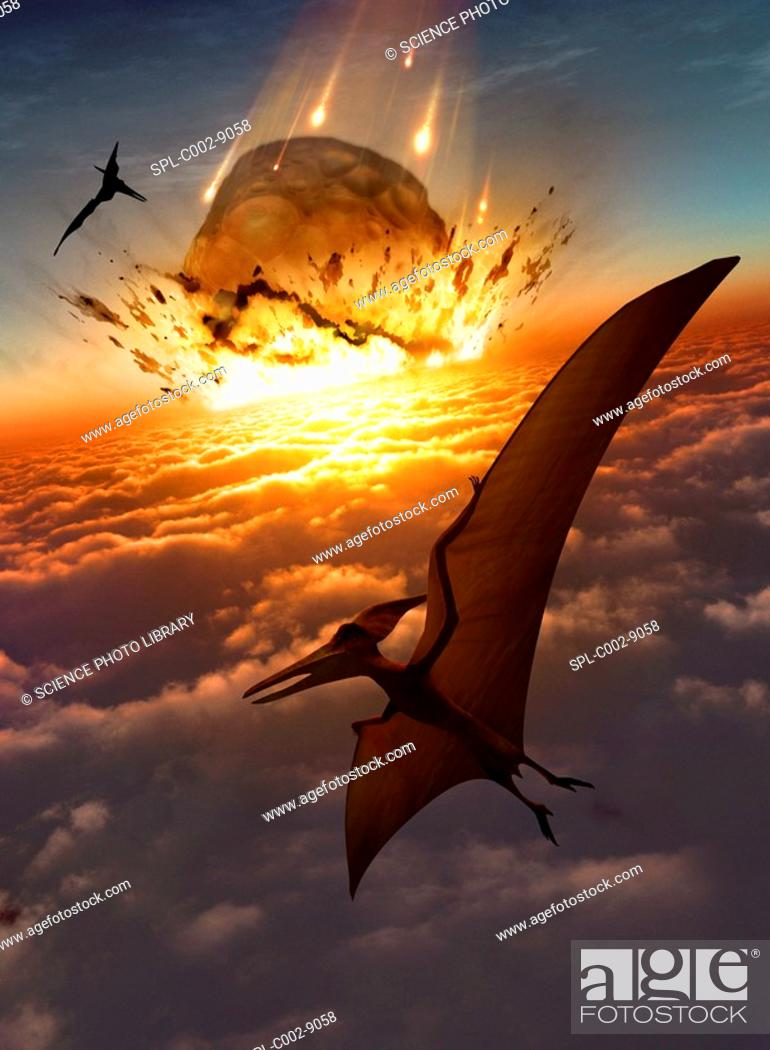 Photo de stock: Extinction of the dinosaurs. Artwork of flying reptiles near the point of impact of a large asteroid. This asteroid is impacting the Earth's atmosphere at a.