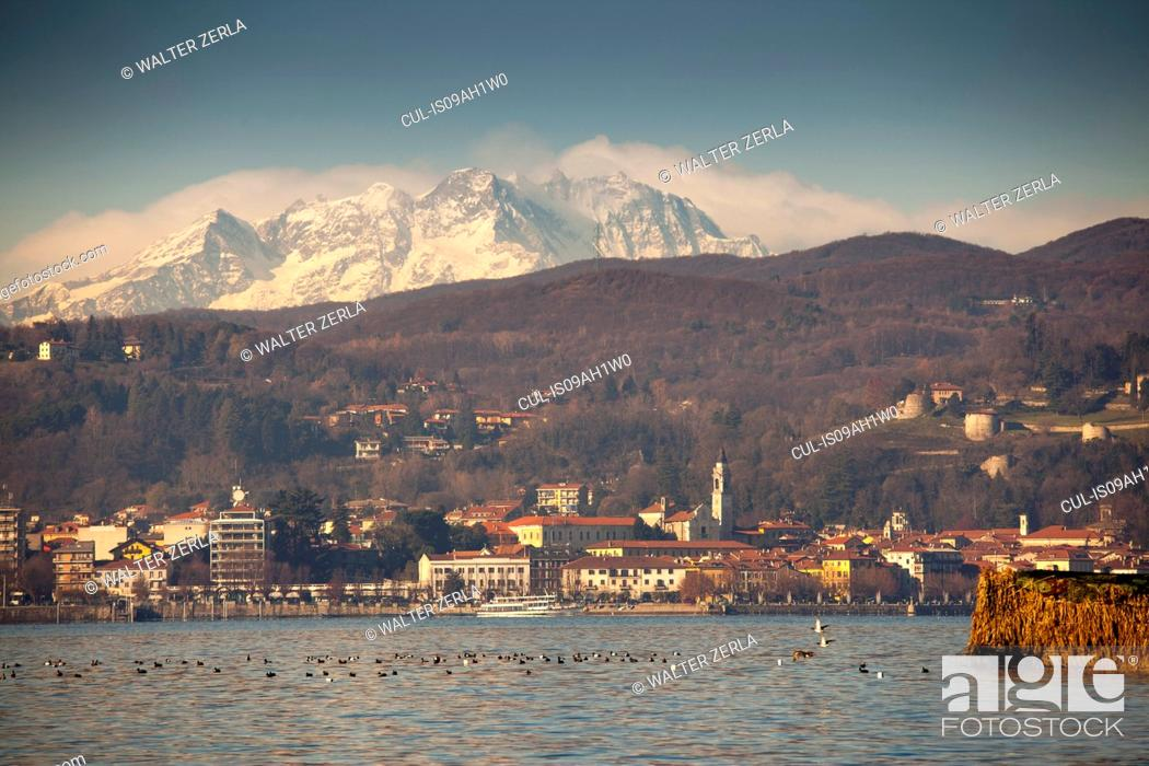 Stock Photo: Arona and Mount Rosa beyond Lake Maggiore, Italy.