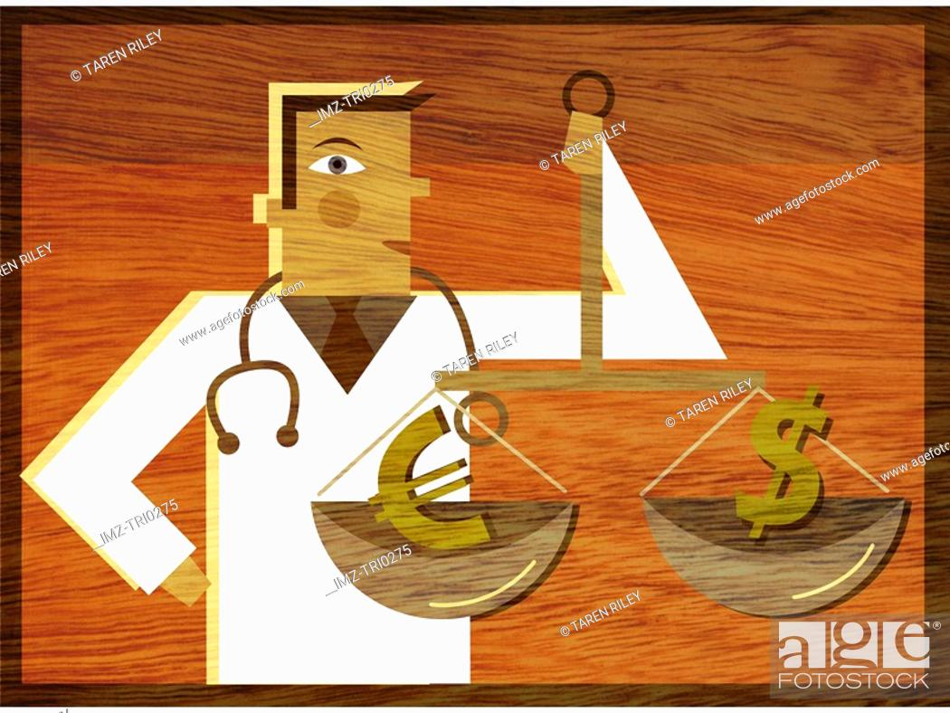 Stock Photo: A physician holding a scale with a Dollar sign and a Euro symbol in it.