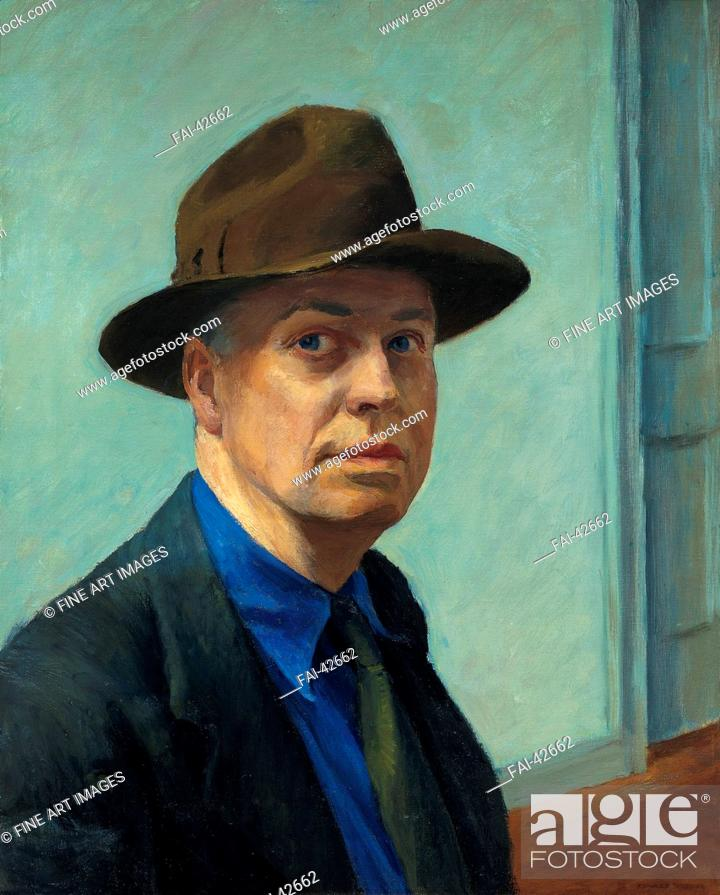 Stock Photo: Self-portrait by Hopper, Edward (1882-1967)/Oil on canvas/American scene painting/1925-1930/The United States/Whitney Museum of American Art.