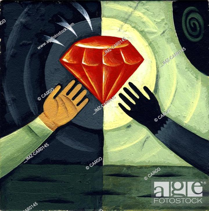 Stock Photo: Two human hands reaching out for a red diamond.
