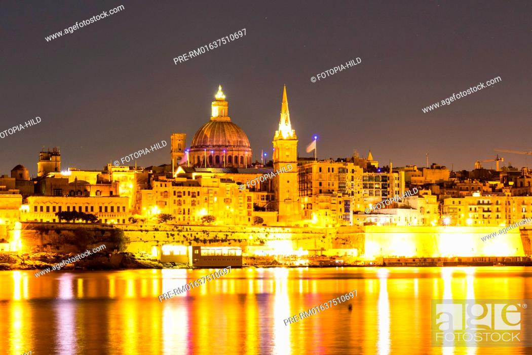 Stock Photo: Looking from Gzira over Marsamxett Harbour to Valletta with the St. Paul's Pro-Cathedral and Basilica of Our Lady of Mount Carmel.