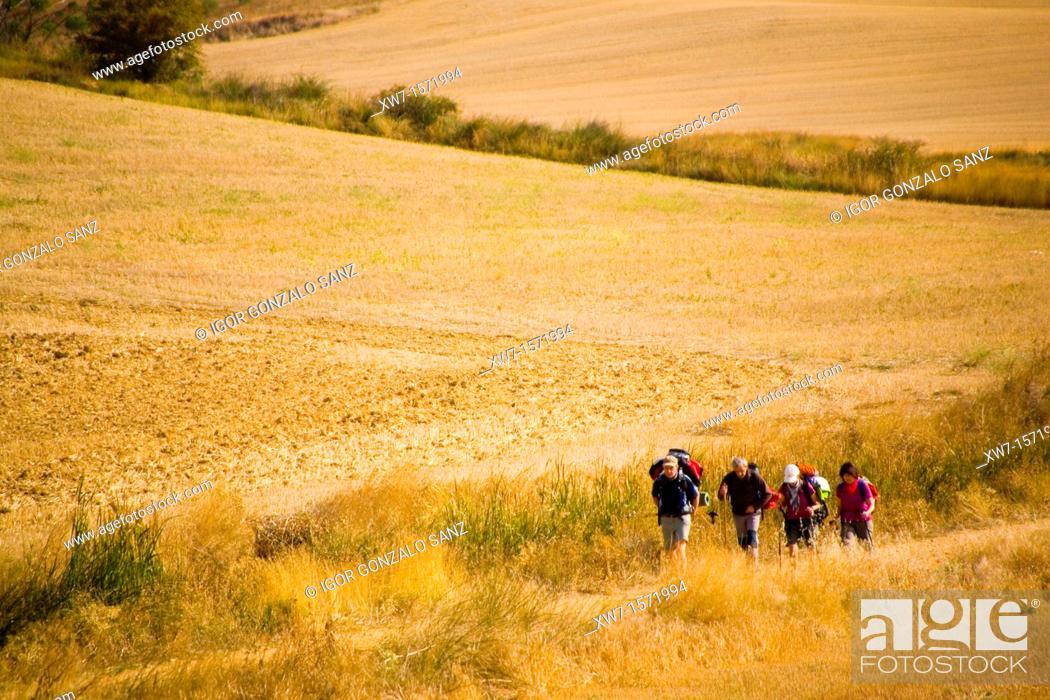 Stock Photo: Pilgrims walking at the village of Itero del Castillo at Burgos province Castilla y León, Spain. Camino de Santiago pilgrimage way.