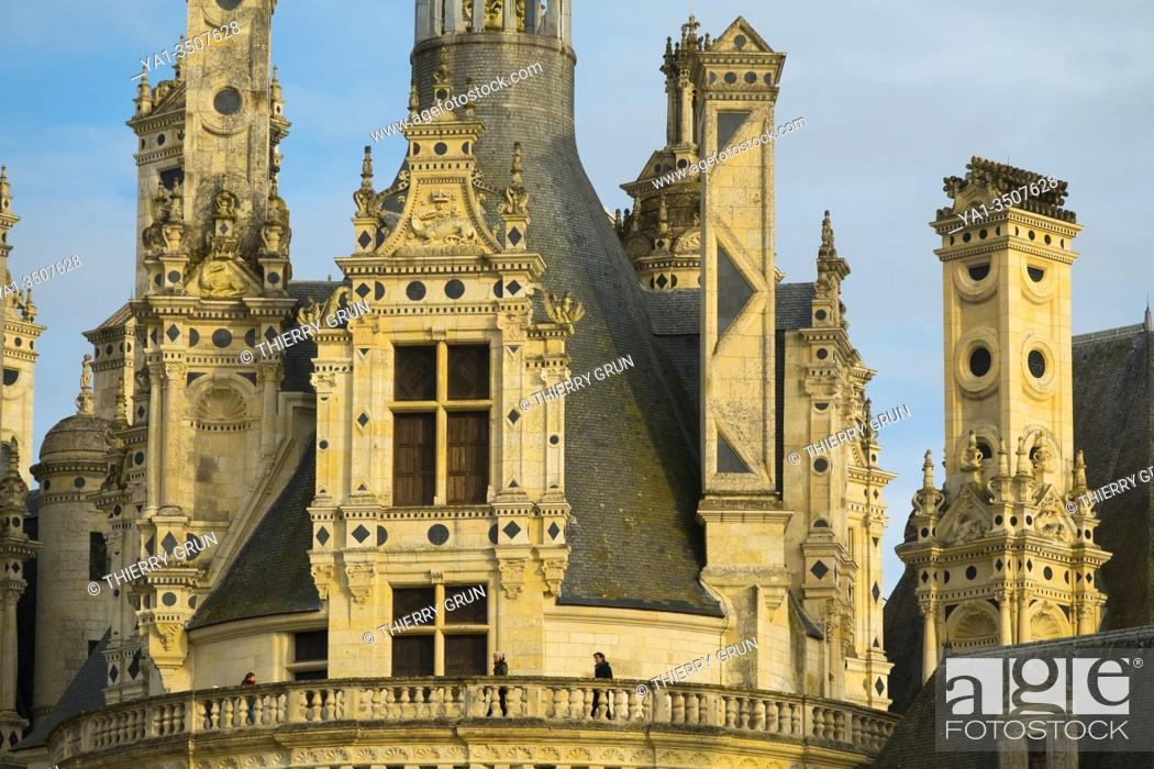 Stock Photo: France, Loir-et-Cher (41), Chambord (Unesco World Heritage), royal castle from Renaissance period, roofs and chimneys.