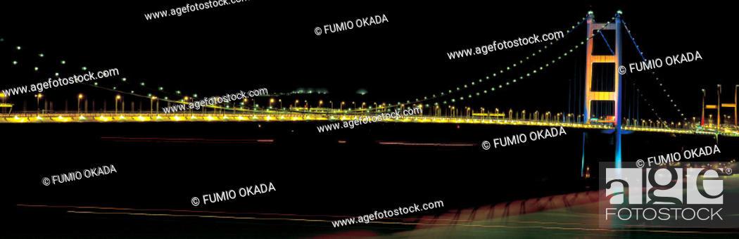 Imagen: Tsing Ma Bridge at night, Hong Kong.