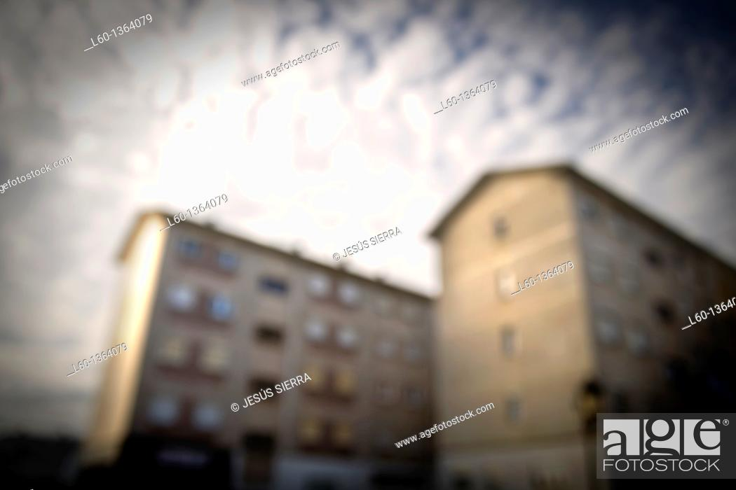 Stock Photo: Blurred Houses in Tapia de Casariego Asturias Spain.