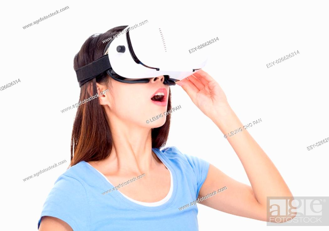 Stock Photo: Woman watching though vr device.