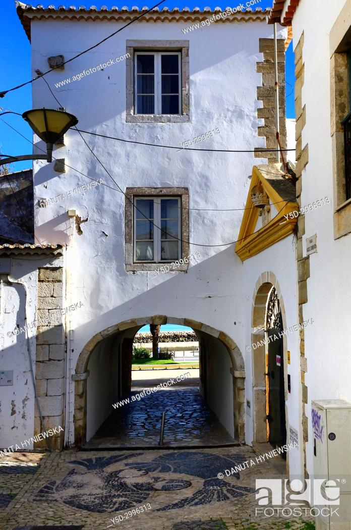 Stock Photo: old town of Lagos, here San Goncalo gate - Porta de Sao Goncalo connecting old town with seaside, beaches and river, Lagos, Algarve , Portugal, Europe.
