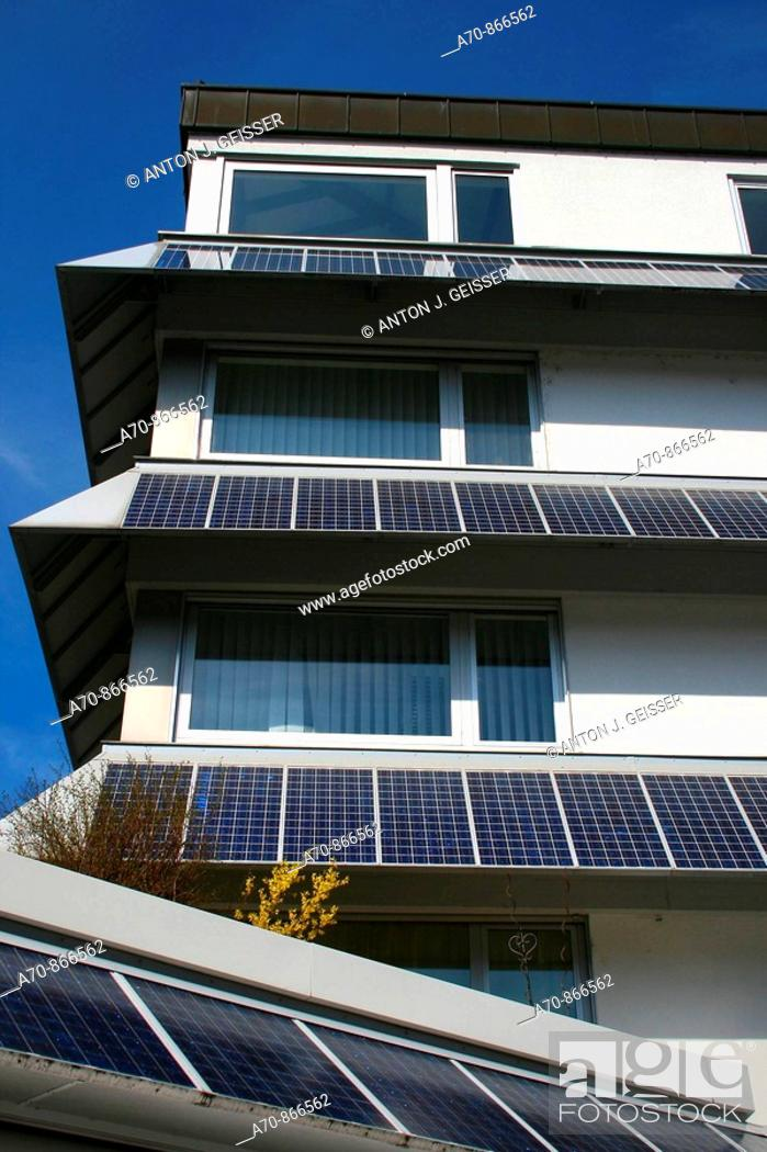 Stock Photo: Solar collectors at a house in Giswil.
